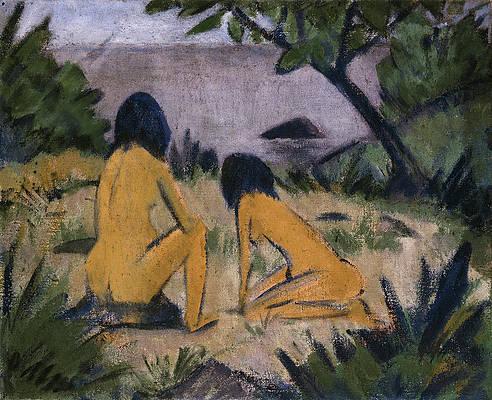 """Otto Mueller, """"Figures assise et agenouillée sur la rive des lacs de Moritzburg"""" (1912)"""
