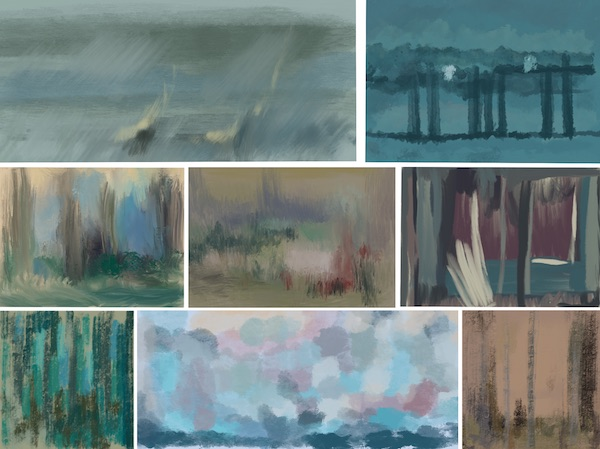 """Compositions abstraites dans des  palettes """"mésopiques"""""""