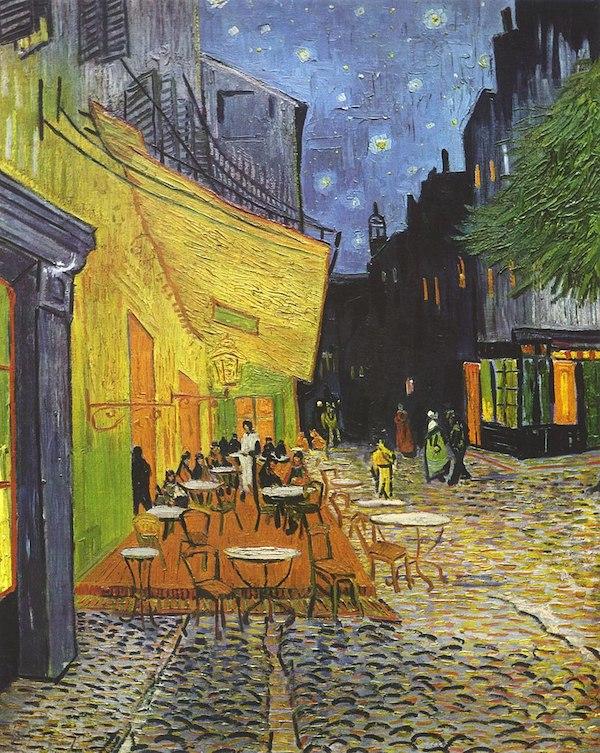 """Vincent Van Gogh , """"Terrasse de café sur la place du Forum"""" (1888)"""