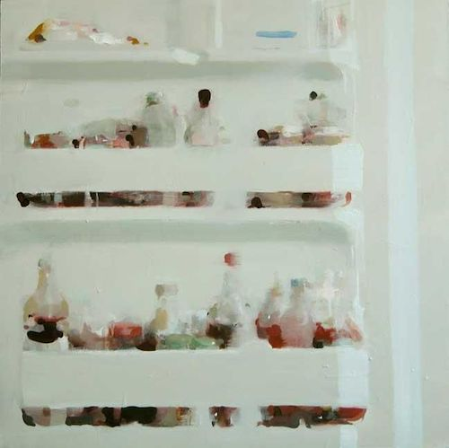 Alex Kanevsky, Fridge, 2001, Oil on wood, 24 x 24 inches. Image courtesy of the artist and Dolby Chadwick Gallery.