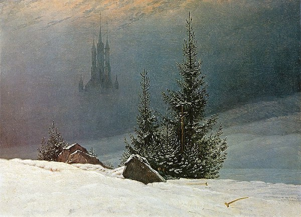 """Caspar David Friedrich, """"Paysage d'hiver avec église"""""""