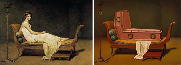 """comparaison du tableau de David, """"Portrait de Madame Récamier"""" avec celui de Magritte, """"Perspective : Madame Récamier de David"""""""