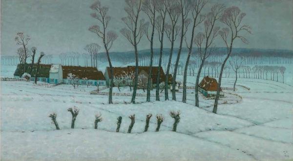 """William Degouve de Nuncques, """"Neige à Berchem-Sainte-Agathe"""" (1912)"""