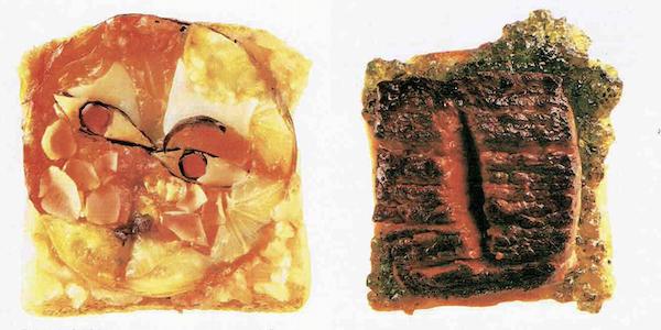 """Agence FOVEA, photographies de Guido Pretzl. À gauche Paul Klee """"Chant d'une jeune fille""""; à droite Lucio Fontana """"Concetto Toastiale""""."""