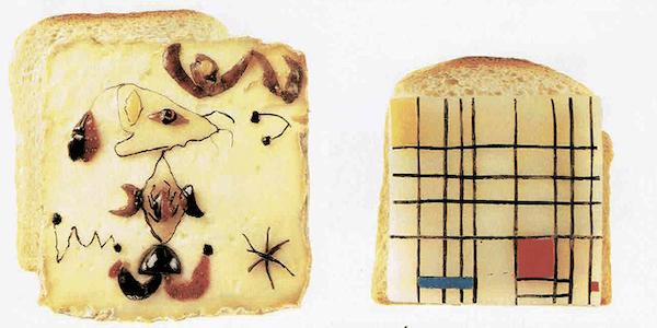 """Agence FOVEA, photographies de Guido Pretzl. À gauche Joan Miro """"Oiseau dans la nuit""""; à droite Piet Mondrian """"Composition avec bleu, jaune et rouge"""""""