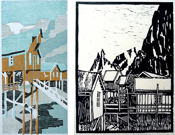 """Vinciane Lacroix, """"Lofoten"""", à gauche, gravure sur bois, à droit, linogravure (CC-BY-SA 2.5"""