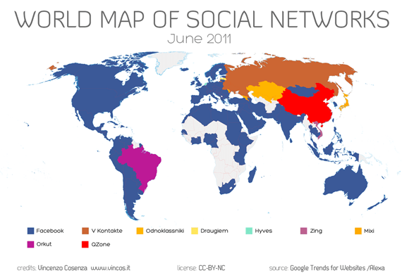 World Map of Social Networks June 2011