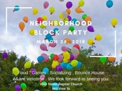 Neighborhood Block Party - March 28, 2018