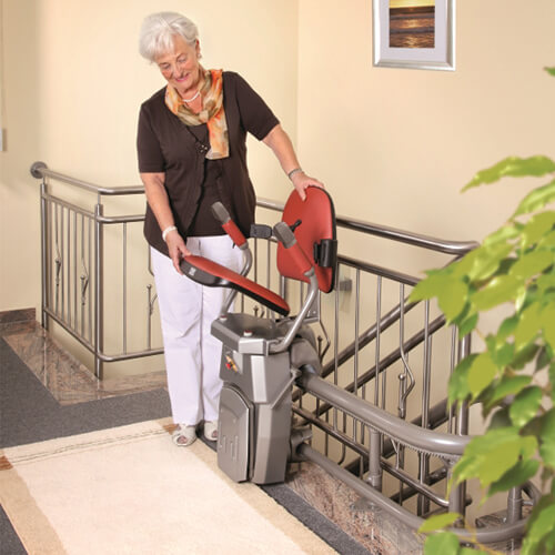 hawle curved stairlift folded