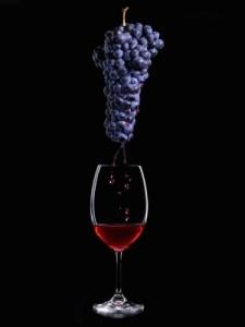 grappe de raisin avec verre