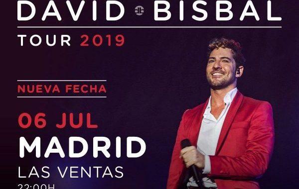 David Bisbal anuncia concierto el 6 de julio en Madrid, en Las Ventas, dentro de su Tour 2019