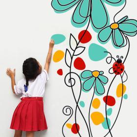 Vinilos Decorativos Flores y Mariquitas