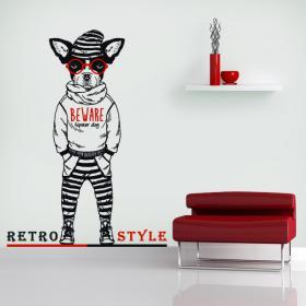 Vinilos Decorativos Beware Hipster Dog