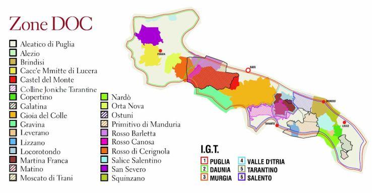 Carte des différentes appellations des vins des Pouilles