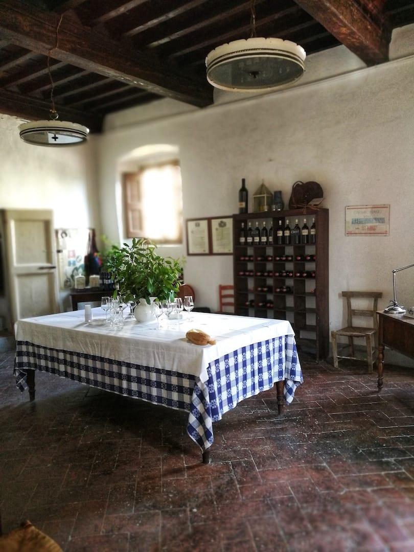 Sala degustazione Fattoria di Bacchereto