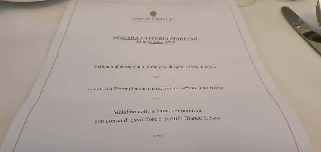 Il menù del Ristorante Savini di Firenze per il pranzo con i vini di Fattoria Fibbiano
