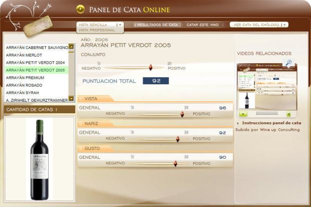 imagen de la cata en el panel de cata online