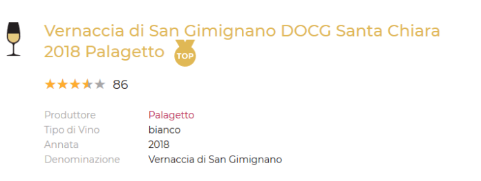 Vernacchia di San Gimignano Santa Chiara 2018