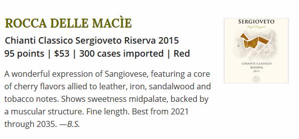 Chianti Classico Sergioveto Riserva 2015 su Wine Spectator