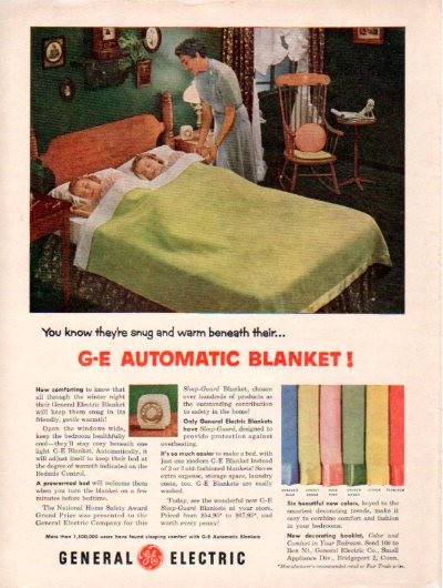 1953 General Electric Ad Automatic Blanket