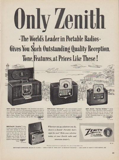 1950 Zenith Vintage Ad Only Zenith