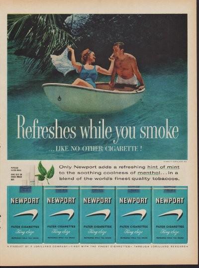 1960 Newport Cigarettes Ad Hint of Mint