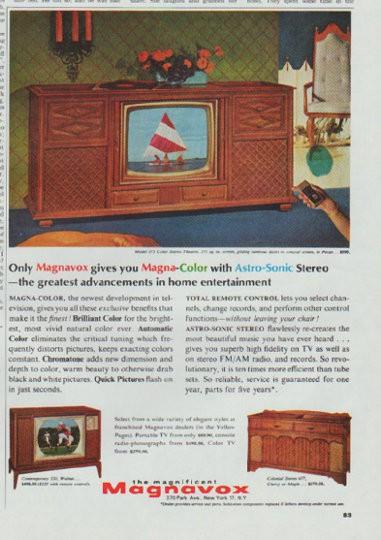 1965 Magnavox TV Vintage Ad MagnaColor
