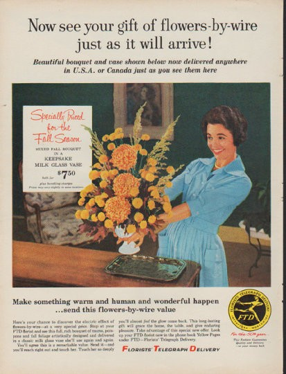 1960 Florists Telegraph Delivery Vintage Ad See Your Gift