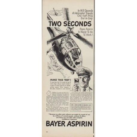 1950 Bayer Aspirin Ad Two Seconds