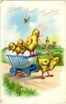 Chicky Wagon Vintage Easter Postcard