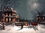 Victorian Christmas Party by Moonlight Postcard