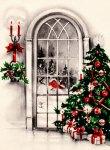Vintage Postcard of a Christmas Window Scene