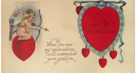 Funny Cupid with Arrow Valentine's Day Vintage Postcard