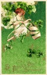 St. Patty's Day Girl Vintage Postcard