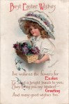 Girl in Easter Bonnet Vintage Postcard
