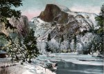 Winter view of Half Dome in Yosemite National Park