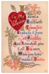 Vintage Postcard with Valentine's Day Heart and Poem