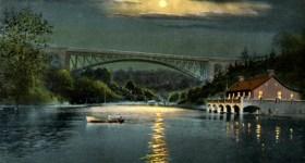 Vintage Postcard of Panther Hollow Lake by Night