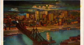 Vintage Postcard of Downtown Pittsburgh on a Moonlit Night