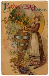Vintage Postcard of a Pilgrim Girl with Victorian Style