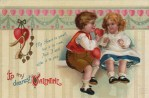 Cute Valentine's Day Postcard with Victorian Children