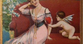 Victorian Woman with Cupid Valentine's Day Postcard