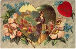 Victorian Woman with Heart and Flowers Valentine's Day Postcard
