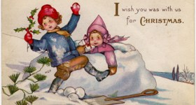 Victorian Children Playing in Snow Christmas Postcard