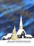Snowy Church at Night Christmas Postcard