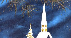 Snowy Church at Night Vintage Christmas Postcard