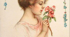 Vintage Valentine's Day Postcard with Love Poem
