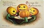 Pumpkins at Cards Vintage Halloween Postcard
