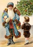 Victorian Santa Claus and Boy Vintage Postcard