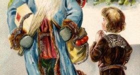 Victorian Santa Claus and Boy Vintage Postcard